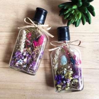 乾燥花 威士忌玻璃酒瓶 聖誕節禮物 生日禮物 瓶中花