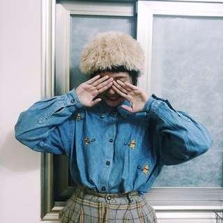 維尼襯衫(附小包)/古著褲