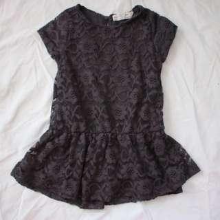 Zara Girls Black Lace Shirt (4 y/o)