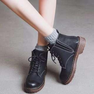 英倫風粗根馬丁鞋踝靴