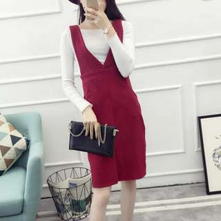 Promo FREE POSTAGE Maroon Korea Knitwear Overall / Pinafore