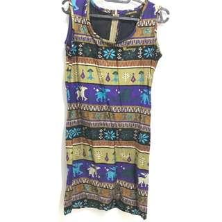 Waisiwyg tribal mini dress