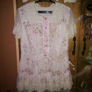 Semi-Lolita Tunic Blouse in Pale Pink