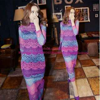 Lace Dress Kurung Top Pink Purple