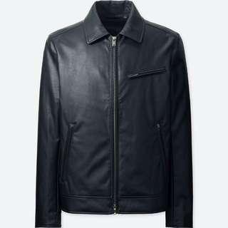 Uniqlo Faux Leather Bomber Jacket for Men