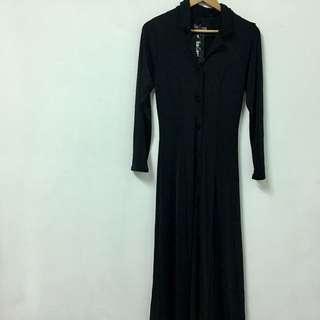 Vintage 復古黑色長罩衫/外套