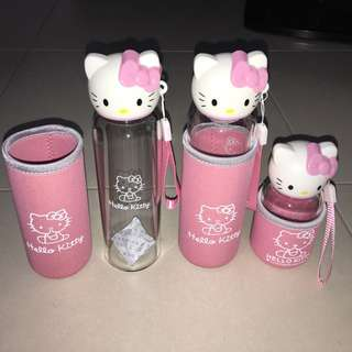 Brand new Hello Kitty glass water bottle with insulated thermal sleeve - 280ml