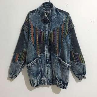 Oversized Aztec Denim Jacket