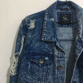 Ripped Acid Wash Denim Jacket