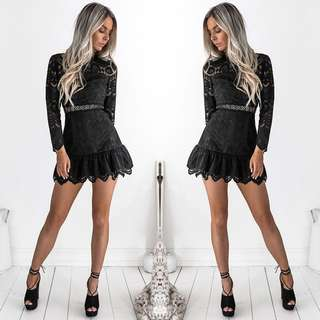 Black lace mini (pixie) dress (rent and sell)