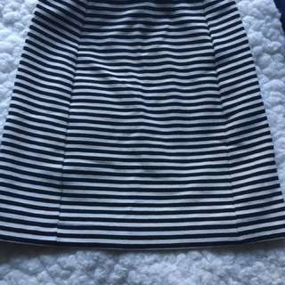 Navy blue & white stripe skirt (XS)