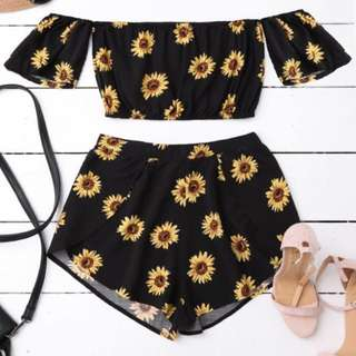 Zaful sunflower two pieces