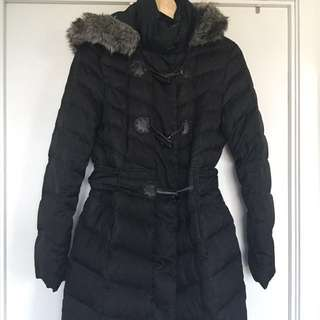 Down/ feather mid length zip up coat