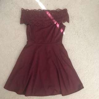 Maroon Off shoulder dress with pocket