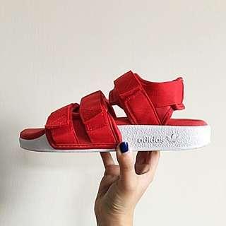ADIDAS Adilette Sandal 愛迪達紅色魔鬼氈涼鞋 #我的女裝可超取