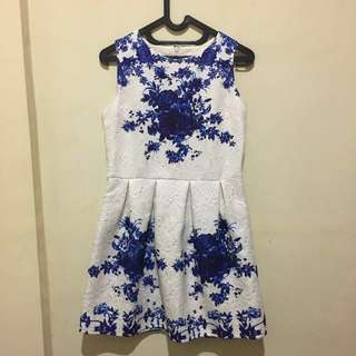Blue and White Chinoise Dress