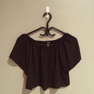 F21 crepe off the shoulder top