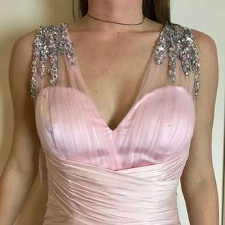 Pink silk and sheer evening gown size 4-6