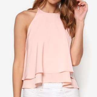 Something Borrowed Double Layer Top in Blush