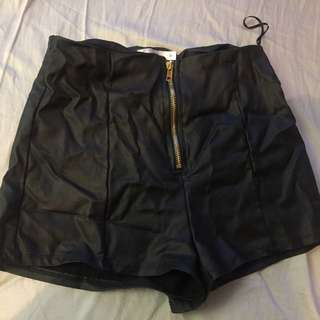 leather booty shorts size 8