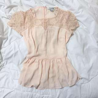 Peach Lace Peplum Forever 21