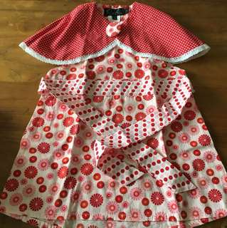 Oobi Red reversible dress with cape