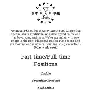F&B Job In A Cafe-styled Shop
