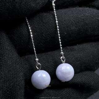 珍珠林~特價品~緬甸A貨9MM天然冰種紫羅蘭玉耳環(可改成夾式)#348