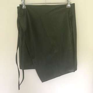 'Reverse' khaki wrap skirt