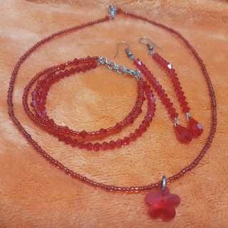 Red Swarovski Crystal Set
