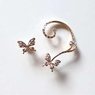 [NEW] Gold Butterfly Ear Hook Earrings