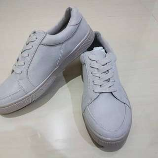 New Look Grey Suedette Lace Up Trainers Sneakers