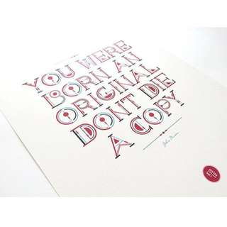 Typography Print - Born Original; Fuchsia & Navy