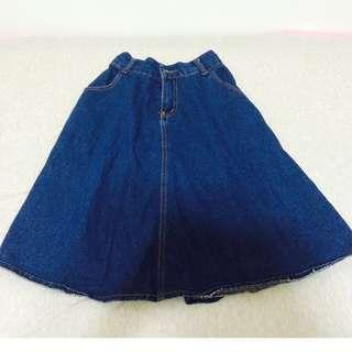 深藍色中長牛仔裙  #我的女裝可超取