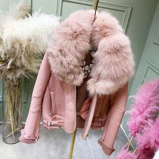 乾燥玫瑰粉色♡大毛領翻領釦環仿皮革外套