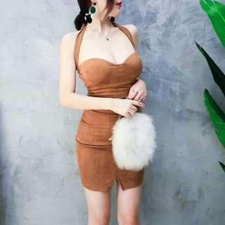 性感麂皮綁帶交叉兩穿法洋裝禮服 駝色/杏色
