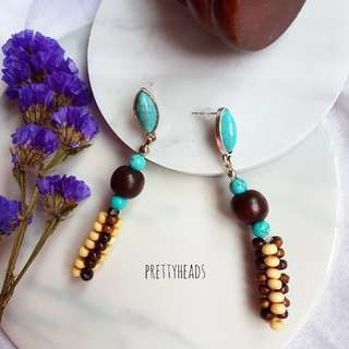Turquiose semiprecious gems tribal style earrings with handbeaded  components