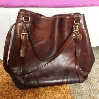 Massimo Dutti Calfskin Leather Brown Bag Extra Large