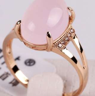 NEW 18k Gold Plate Pink Opal Ring with CZ, Sz 8
