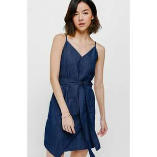 LB Lesirae Crossover Sash Denim Dress