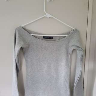 Off the shoulder fitted long sleeve