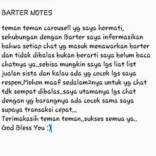 BARTER NOTES lanjut ke caption yaa