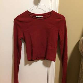 Zara Red Long Sleeve Crop Top