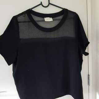 Black mesh top