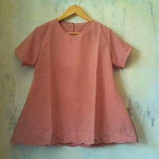 #dibuangsayang Pink Top Short Blouse Bahan Twistcone