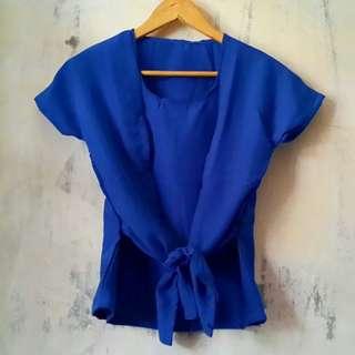 #dibuangsayang Blue Top Short Blouse Bahan Twistcone