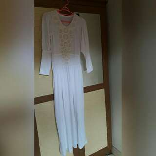 Dress Panjang Gamis Muslim Putih