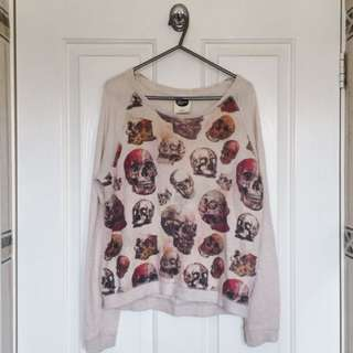 All About Eve Skulls Sweater, Size 6