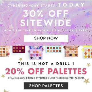 COLOURPOP 30% OFF SITEWIDE SPREE