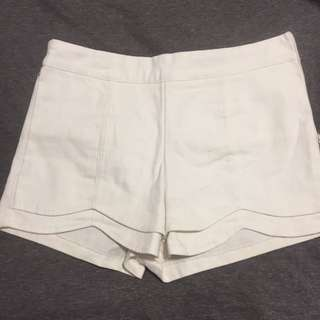 Scalloped white short
